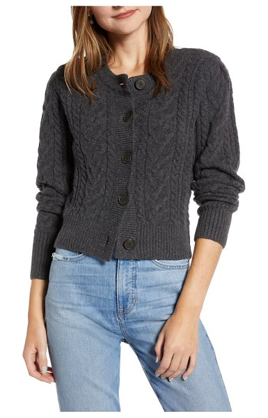 Something Navy crewneck cable cardigan in grey dark charcoal heather