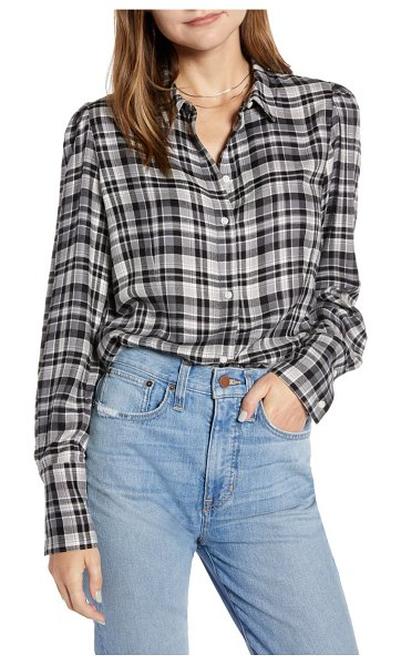 Something Navy fitted flannel top in grey steel houston plaid