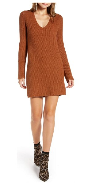 Something Navy fitted long sleeve tunic sweater dress in rust leather