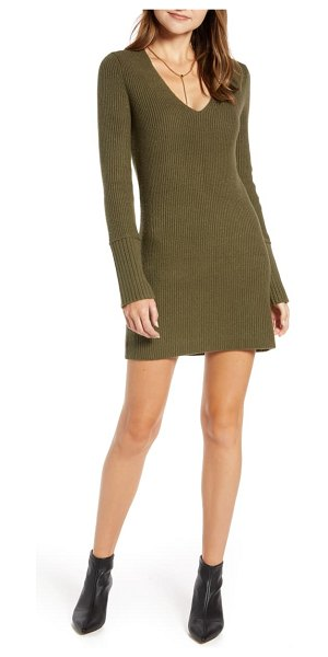 Something Navy fitted long sleeve tunic sweater dress in olive sarma