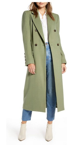 Something Navy long double breasted coat in olive acorn