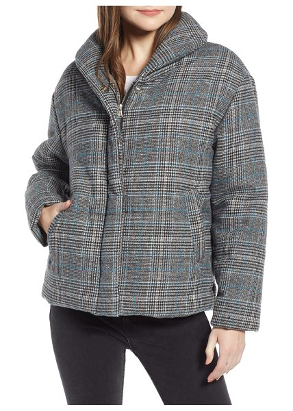 Something Navy plaid puffer jacket in grey - Polished, puffed and ready to brave the cold, this...