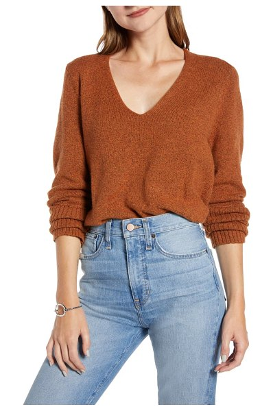 Something Navy v-neck sweater in rust leather