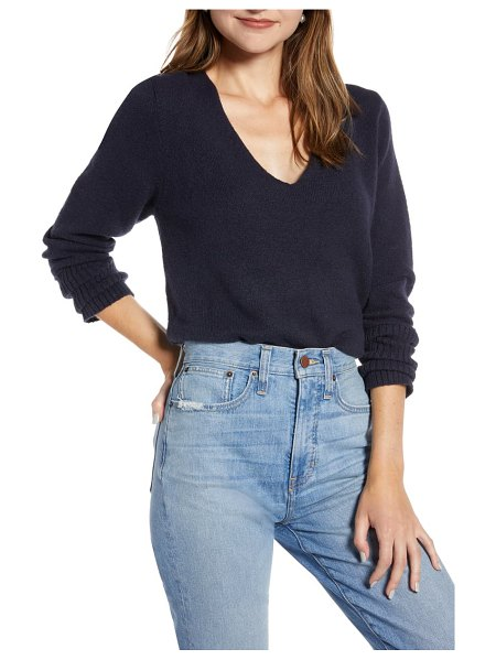 Something Navy v-neck sweater in navy night