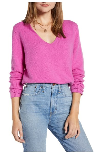 Something Navy v-neck sweater in purple orchid