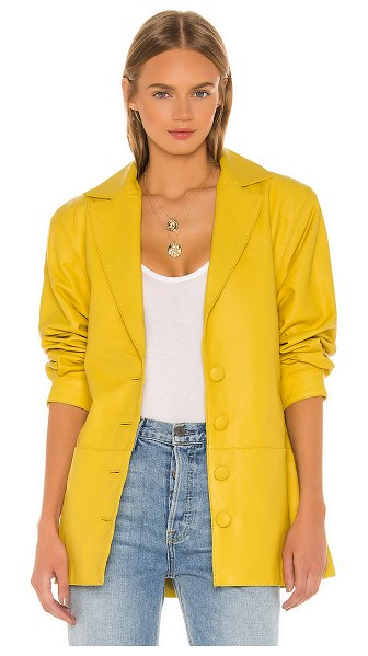 Song of Style bennie leather jacket in citron yellow