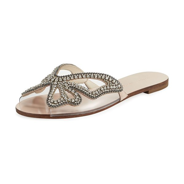 SOPHIA WEBSTER Madame Crystal Butterfly Flat Slide Sandals - Sophia Webster suede sandal with crystal butterfly...