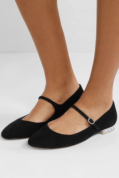 Sophia Webster toni crystal and faux pearl-embellished suede mary jane ballet flats in black