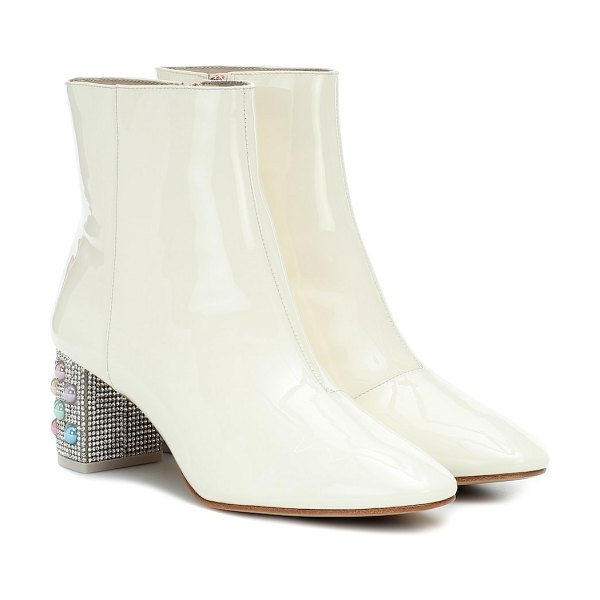 Sophia Webster toni embellished leather ankle boot in white