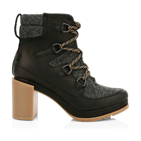 Sorel blake lace-up leather & felt hiking boots in black