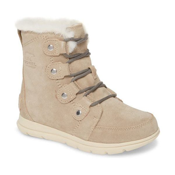 Sorel explorer joan waterproof boot with faux fur collar in ancient fossil suede