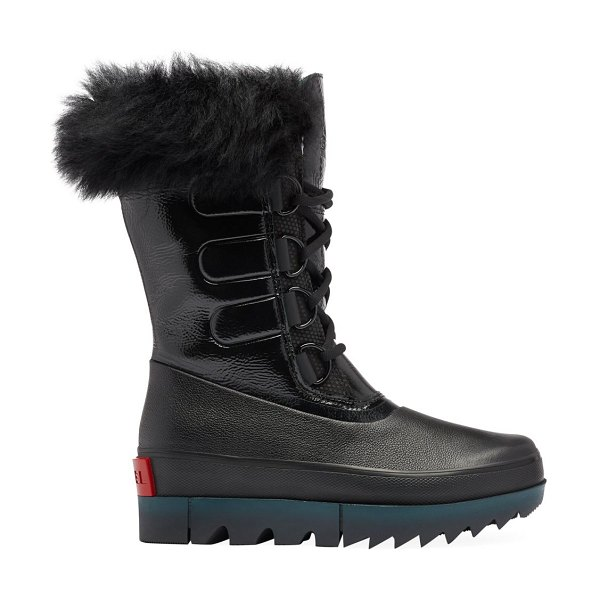 Sorel joan of arctic next premium shearling-trimmed leather boots in black