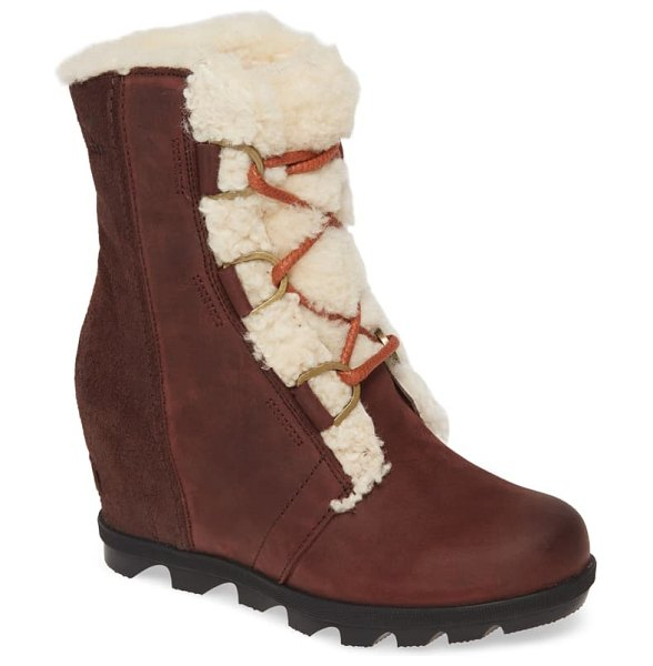 Sorel joan of arctic wedge ii genuine shearling bootie in cattail suede