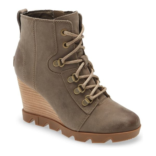 Sorel joan uptown waterproof wedge bootie in khaki ii