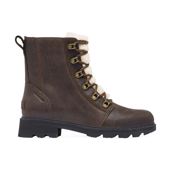 Sorel lennox shearling-lined leather combat boots in blackened