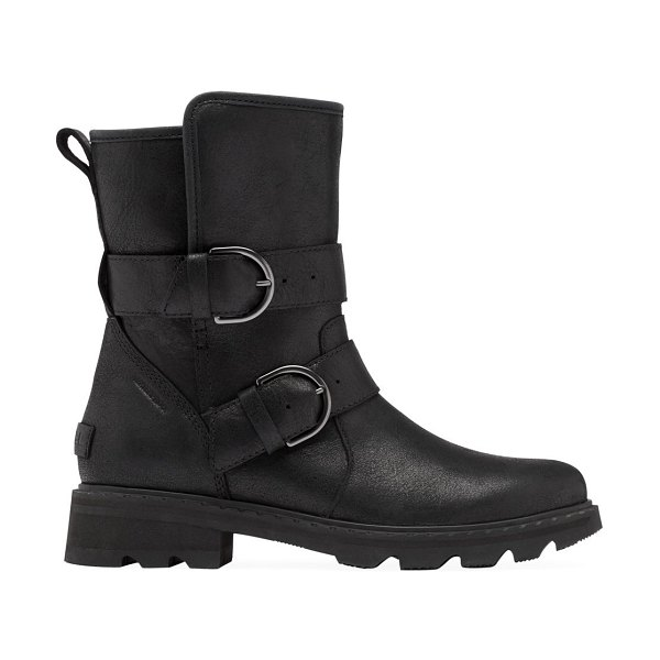 Sorel lennox shearling-lined leather moto boots in black