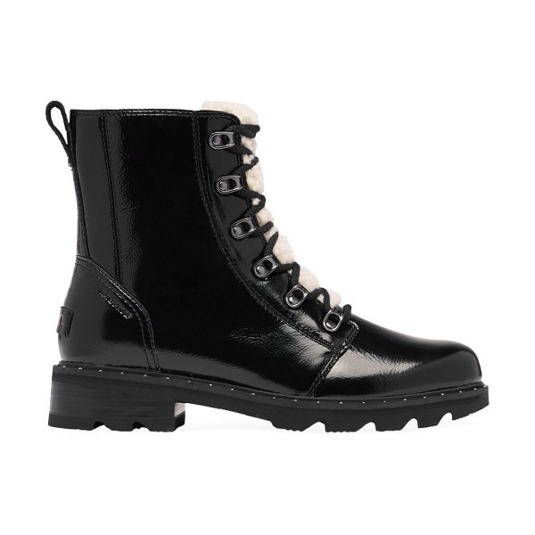 Sorel lennox shearling-trimmed patent leather combat boots in black