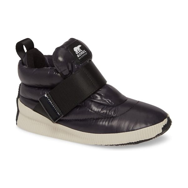 Sorel out n about puffy insulated waterproof sneaker boot in black fabric