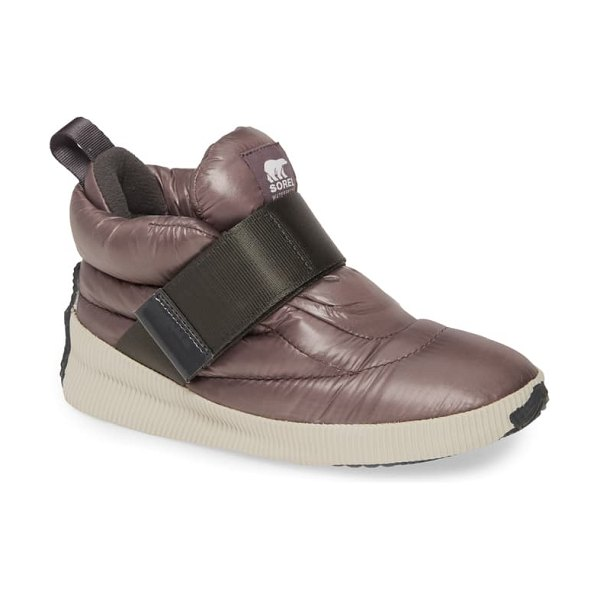 Sorel out n about puffy insulated waterproof sneaker boot in purple sage fabric