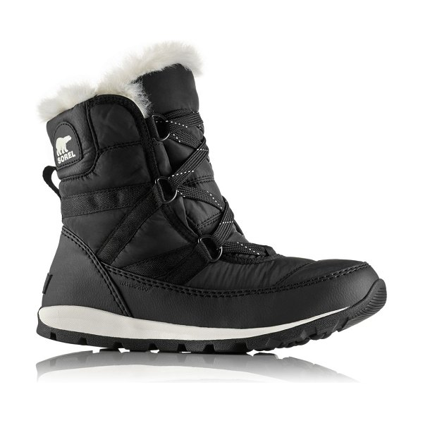 Sorel whitney short faux-fur lace-up boots in black