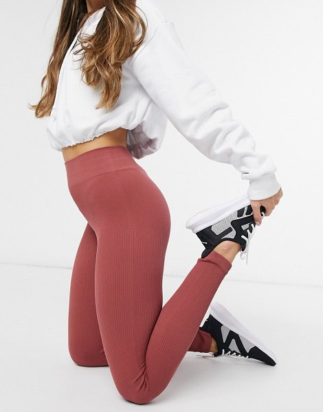 South Beach fitness seamless ribbed leggings in burgundy-purple in purple