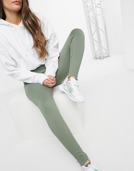 South Beach fitness seamless ribbed leggings in khaki-green in green