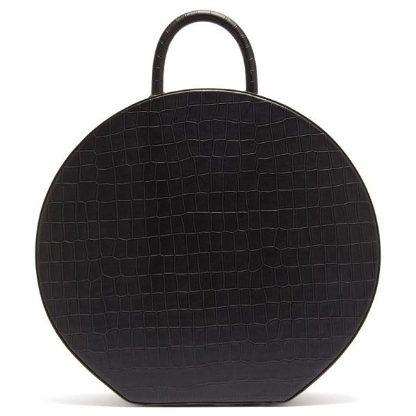 Sparrows Weave large crocodile-effect leather handbag in black