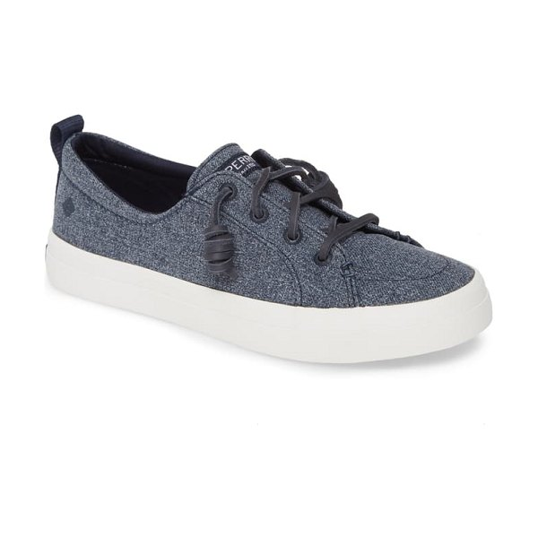 Sperry crest vibe sneaker in navy sparkle chambray fabric