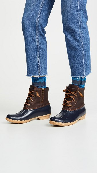 Sperry saltwater lace up boots in tan/navy