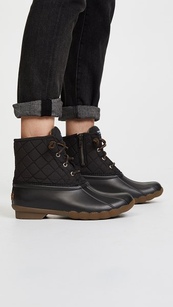 Sperry saltwater quilted duck booties in black