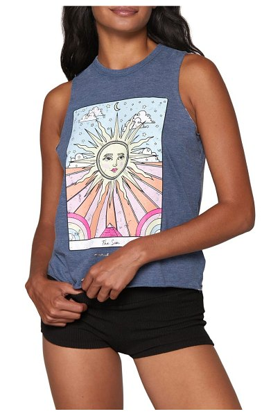 Spiritual Gangster sun paradise graphic tank in faded navy