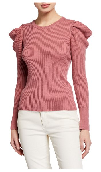 Splendid Allston Puff-Sleeve Pullover in dusty cedar