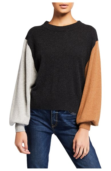 Splendid Colorblock Cashmere Bishop-Sleeve Sweater in h charcoal multi
