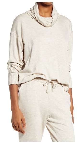 Splendid cowl neck sweater in heather oatmeal