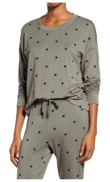 Splendid embroidered pullover in olive