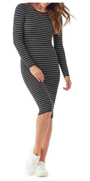 Splendid Kinsley Striped Long-Sleeve Dress in charcoal/oatmeal