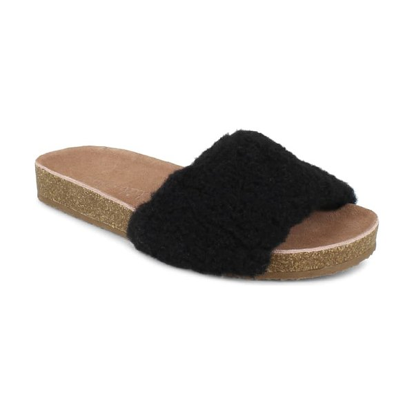 Splendid romy faux shearling slide sandal in black