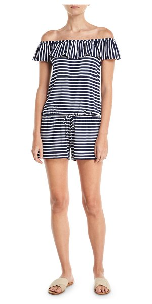 Splendid Striped Coverup Romper in blue - Splendid striped romper. Off-the-shoulder neckline with...