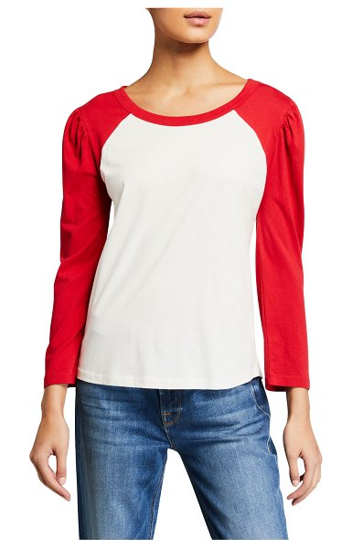 Splendid Vista Colorblock Raglan Top in white/red
