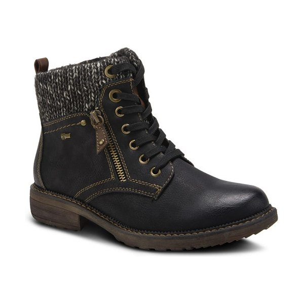 Spring Step khazera lace-up boot in black faux leather