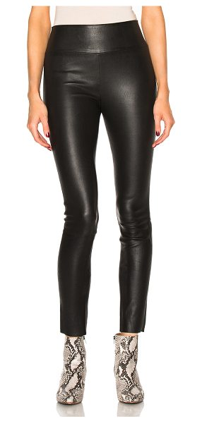 SPRWMN High Waist Leather Ankle Leggings - Self: 100% lambskin leather - Contrast Fabric: 97% lycra 3%...