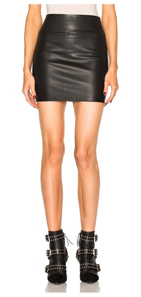 SPRWMN Leather Mini Skirt - Self: 100% lambskin leather - Contrast Fabric: 97% lycra...