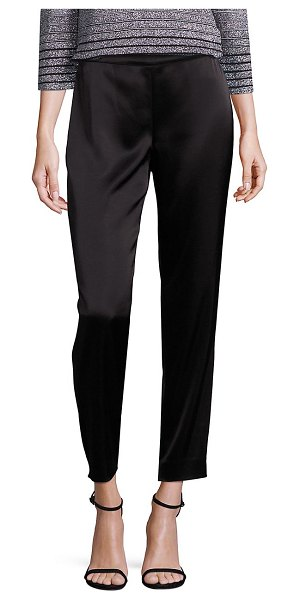 St. John liquid satin emma pants in caviar,navy