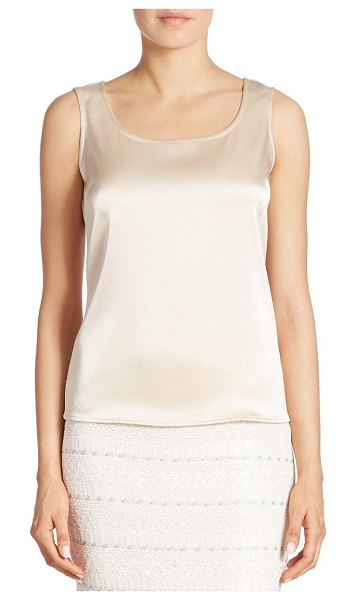 St. John caviar collection satin tank top in champagne,platinum