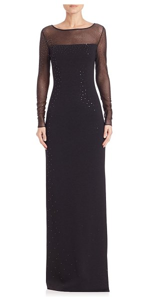St. John Caviar Collection Sequined Milano Gown in Black   Shopstasy