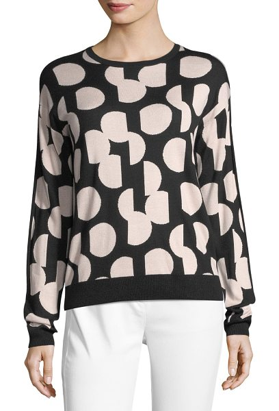 St. John Dot Intarsia Sweater in black/pink - St. John Collection dot intarsia knit sweater with solid...