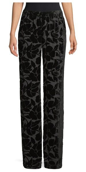St. John Floral Velvet Burnout Pants in caviar