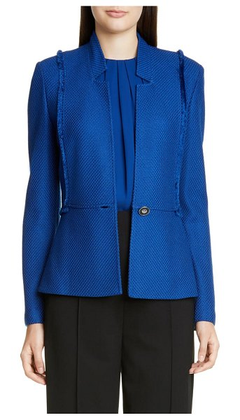 St. John gridded texture knit jacket in prussian blue