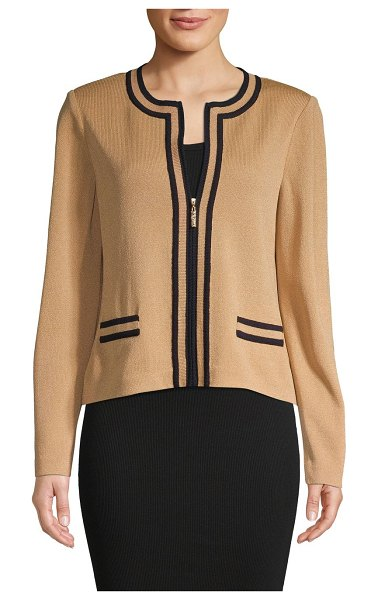 St. John Santana Stripe Knit Jacket in camel