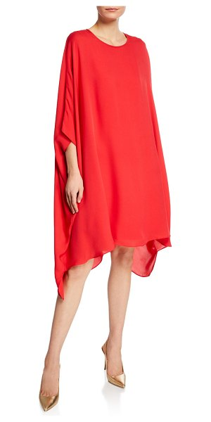 St. John Scoop-Neck 3/4-Sleeve Draped Silk Georgette Dress in red